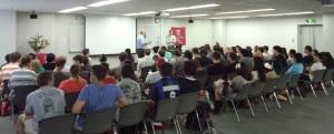 28日にテンプルジャパンで行われた短期留学生(原則1学期のみ)向けのオリエン風景
